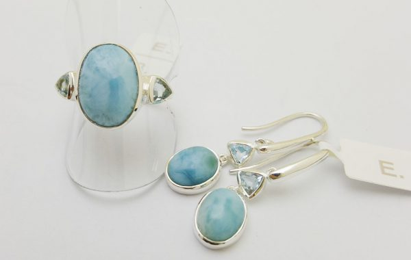 LARIMAR & BLUE TOPAZ RING, EARRINGS
